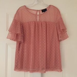 Romantic pink layered ruffled sleeve top